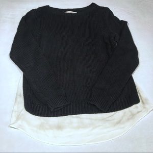 LOFT BLACK KNIT SWEATER SIZE MEDIUM